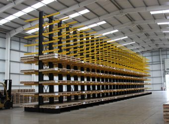 cantilever racking yellow warehouse