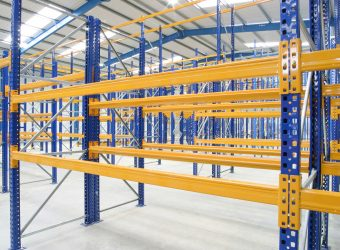 pallet racking yellow blue close up