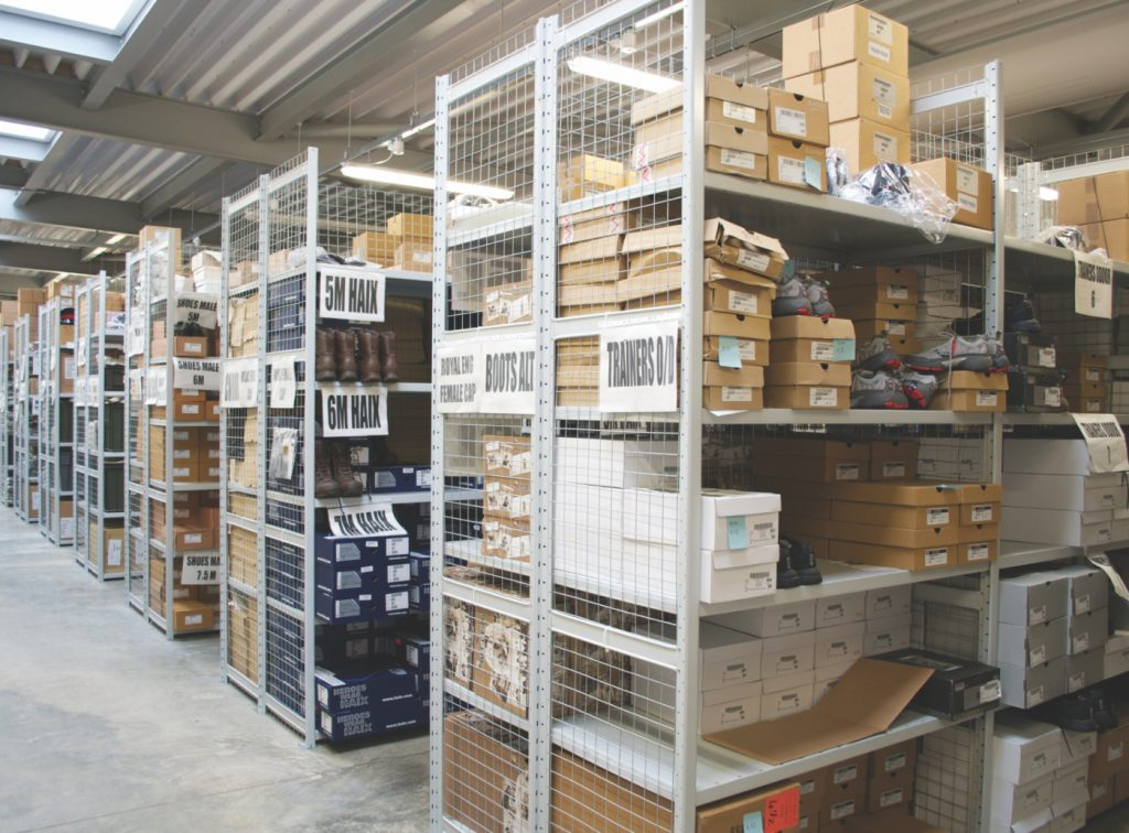 warehouse shelving boxes